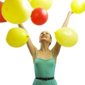 Joyful Young Woman With Balloons