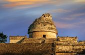 foto of cultural artifacts  - The observatory at Chichen Itza mexoco Yucatan - JPG