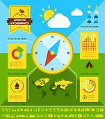 stock photo of motorhome  - Flat Camping Infographic Elements plus Icon Set - JPG