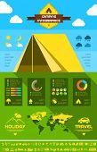 image of motorhome  - Flat Camping Infographic Elements plus Icon Set - JPG