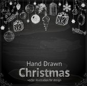 Christmas hand drawn Decorations for Xmas design. With balls, toys and fir-cone.