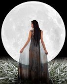 stock photo of night gown  - Fairy in front of a Moon - JPG