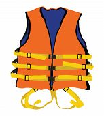 stock photo of life-boat  - model of orange life jacket for safety life in water - JPG