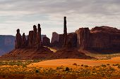 stock photo of indian totem pole  - Late afternoon at Totem Pole Monument Valley - JPG