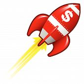 pic of missles  - Dollar sign currency symbol on red retro rocket ship illustration good for use as a button in print materials or in advertisements - JPG