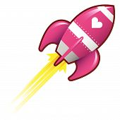 foto of missles  - Heart or love icon on pink retro rocket ship illustration good for use as a button in print materials or in advertisements - JPG