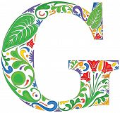 foto of initials  - Colorful floral initial capital letter G  - JPG