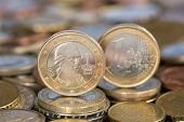 stock photo of mozart  - A one Euro coin from the EU member country Austria with Mozart - JPG