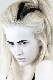 pic of wraith  - Portrait of mysterious albino woman with black eyebrows - JPG