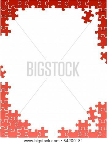 Red Puzzle Pieces Border Template
