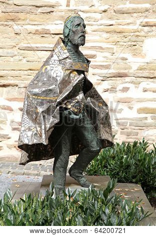 Statue In Front Of Aachen Cathedral, Germany