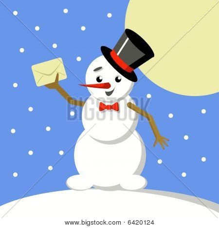 Snowman with a letter