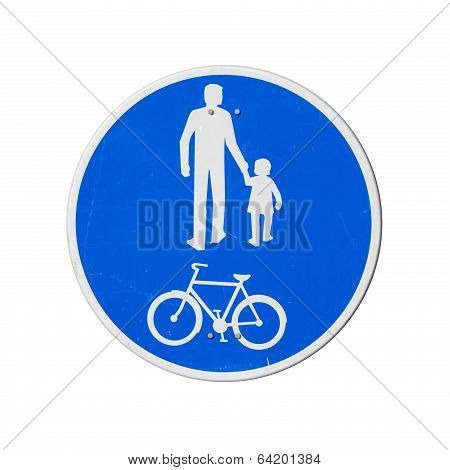 Bicycles And Pedestrians Only. Blue Round Road Sign Isolated On White