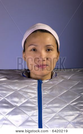 Woman in portable spa.