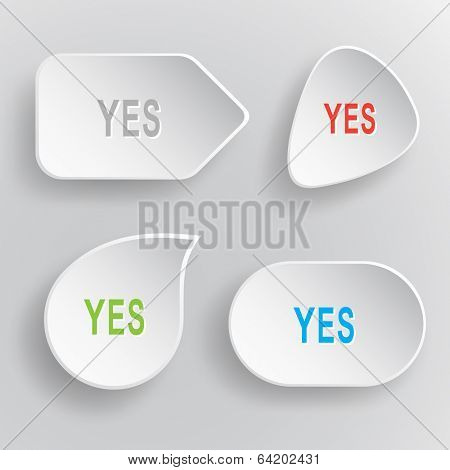 Yes. White flat vector buttons on gray background.