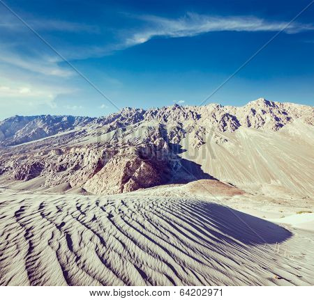 Vintage retro effect filtered hipster style travel image of Sand dunes in Himalayas. Hunder, Nubra valley, Ladakh, India