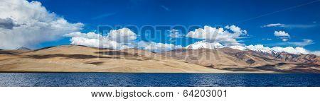 Panorama of Himalayan lake Tso Moriri (official name - Tsomoriri Wetland Conservation Reserve) in Himalayas, Korzok,  Changthang area, Ladakh, Jammu and Kashmir, India