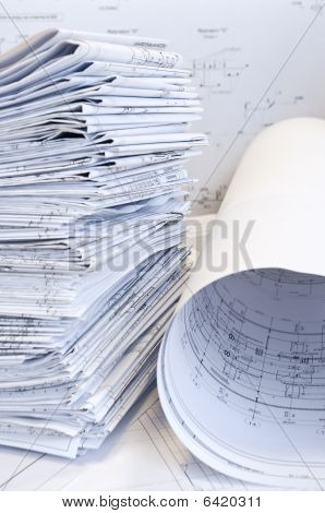 Stack of design drawings