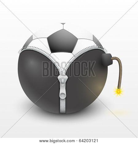 soccer ball over a burning bomb vector