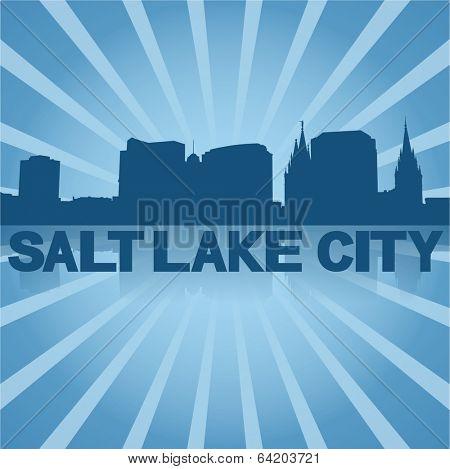 Salt Lake City skyline reflected with blue sunburst vector illustration