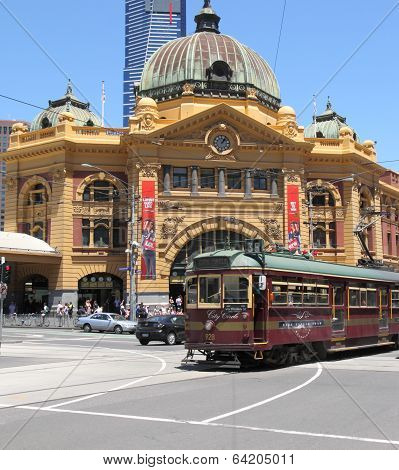 Flinders street station and tram