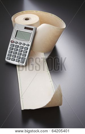 calculator and adding machine tape