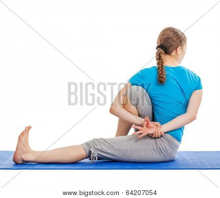 Yoga - young beautiful slender woman yoga instructor doing Forward Bends Sage Twist C pose (Marichyasana C) asana exercise isolated on white background