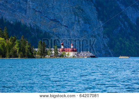 St. Bartholomew's Church on Konigssee lake, Berchtesgaden, Bavaria, Germany