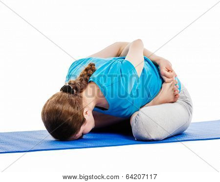 Yoga - young beautiful slender woman yoga instructor doing Psychic Union Pose (forward bend baddha padmasana, yoga mudrasana) asana exercise isolated on white background