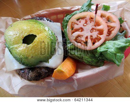Swiss Cheese Hamburger With Veggies