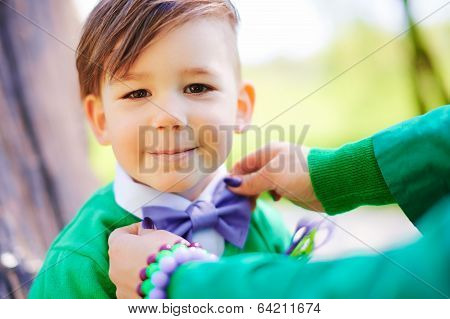 Cheerful smiling little boy