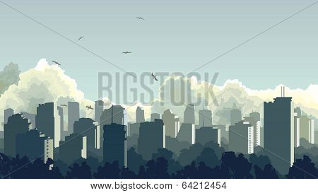 Illustration Of Big City In Blue Tone.