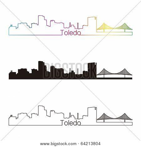 Toledo Oh Skyline Linear Style With Rainbow