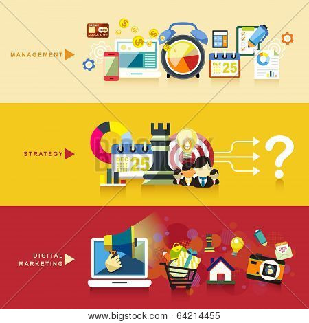 Flat Design For Management, Strategy And Digital Marketing