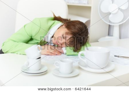 Office Worker Has Fallen Asleep Despite Drunk By Coffee