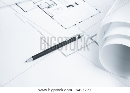 Mechanical Pencil On Blue Print