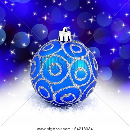 Blue Christmas Ball Isolated On Blue Background