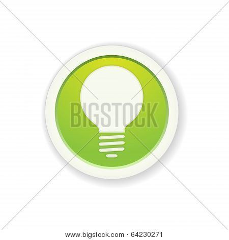 The Green Glossy Circle Button With Light Bulb Pictogram