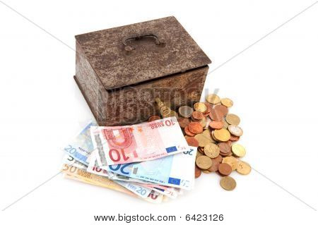 Old Rusty Money Box With Euros