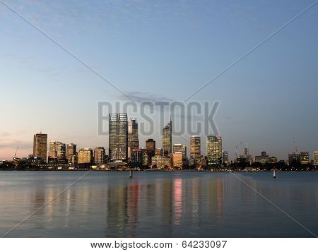 Perth City Skyline And Swan River At Dusk