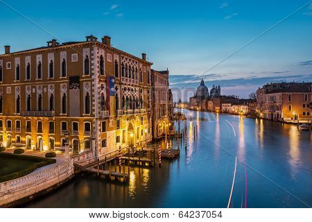 View On Grand Canal And Santa Maria Della Salute Church From Accademia Bridge, Venice, Italy