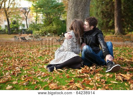 Romantic Couple Outdoors, Kissing
