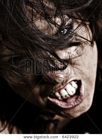 Professionally Retouched Portrait Of Angry Woman