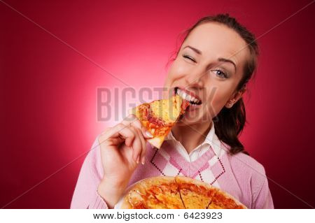 Professionaly Retouched Picture Of Happy Woman With Pizza
