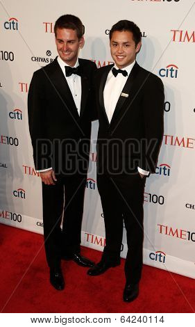 NEW YORK-APR 29: Snapchat founders Evan Spiegel (L) & Robert Murphy attend the Time 100 Gala for Most Influential People at Frederick P. Rose Hall at Lincoln Center on April 29, 2014 in New York City.