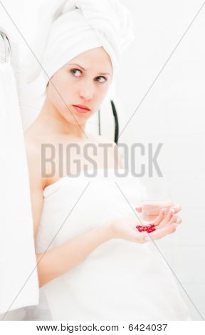 Sad Woman With Tablets