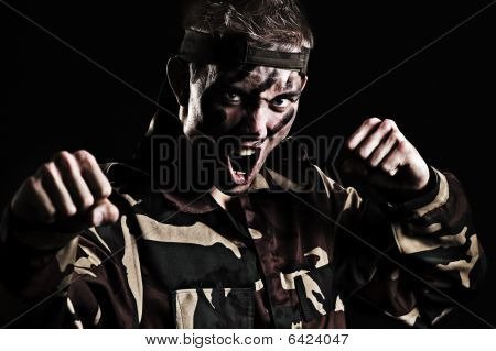 Screaming Soldier Wants To Fight With Enemy