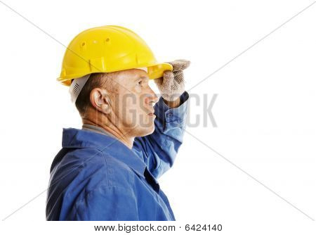 Serious Worker Looking In To The Future