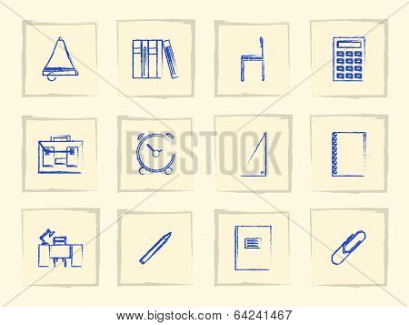 Icons for school supplies