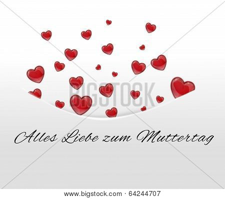 White Card, Pocket With Red Hearts Tucked Away In German